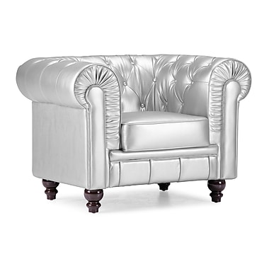 Zuo® Aristocrat Leather Armchair, Silver