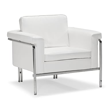 Zuo® Singular Leatherette Armchair, White