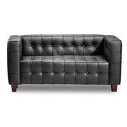Zuo® Leatherette Button Loveseat, Black