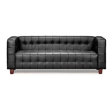 Zuo® Leatherette Button Sofa, Black