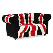 Zuo® Micro Fiber Union Jack Loveseat, Red, White/Black
