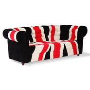Zuo® Micro Fiber Union Jack Sofa, Red, White/Black