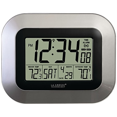 La Crosse Technology WS-8115U-S Atomic Digital Wall/Free Standing Clock, Silver
