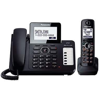 Panasonic® Kx-TG6671B Corded/Cordless Phone System With 1 Handset, 100 Name/Number