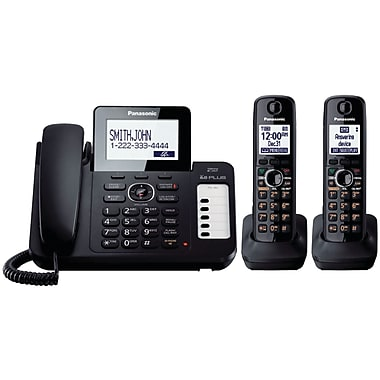 Panasonic® Kx-TG6672B Corded/Cordless Phone System With 2 Handset, 100 Name/Number