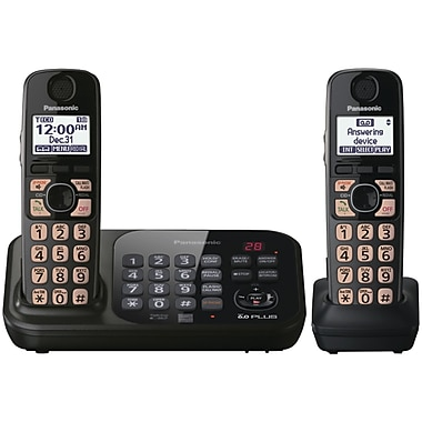 Panasonic® Kx-TG4742B Digital Cordless Telephone With 2 Handsets, 70 Name/Number