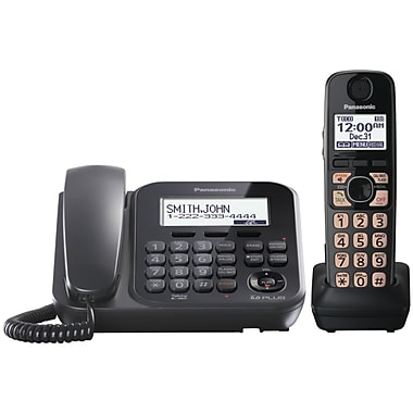 Panasonic KX-TG4771B Digital Cordless Telephone with 1 Corded and 1 Cordless Handset, Black