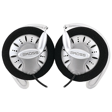 Koss® SportClip™ Headphones, Black/White/Gray