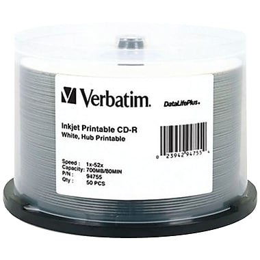 Verbatim®  DataLifePlus 700MB White Inkjet Printable CD-R Spindle, Pack of 50