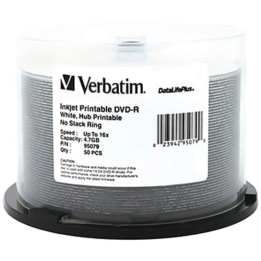 Verbatim® 4.7GB Datalifeplus White Inkjet Printable DVD-RS Spindle, Pack of 50