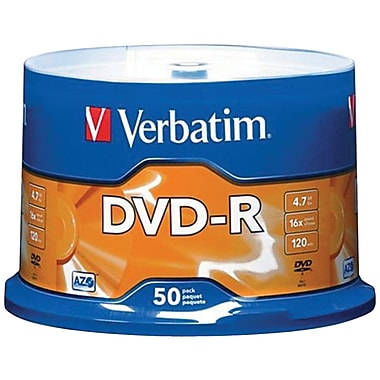 Verbatim® 95101 4.7GB 16X 120 min storage capacity DVD-RS, 50-ct Spindle