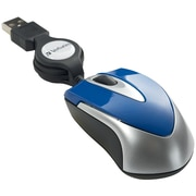 Verbatim VTM97249 USB Wired Optical Travel Mouse, Blue