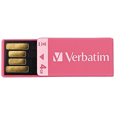Verbatim® Clip-It 4GB USB 2.0 Flash Drive, Pink