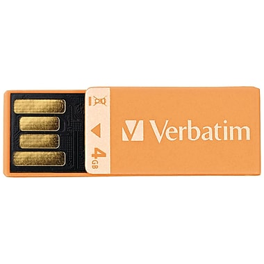 Verbatim® Clip-It 4GB USB 2.0 Flash Drive, Orange