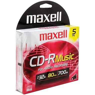 Maxell® 80MIN 700MB Music CD-Rs, Jewel Cases, 5/Pack