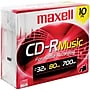 Maxell 80min 700mb Music Cd-Rs, Jewel Cases, 10/pack