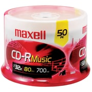 Maxell® 80MIN 700MB Music CD-Rs, Spindle, 50/Pack