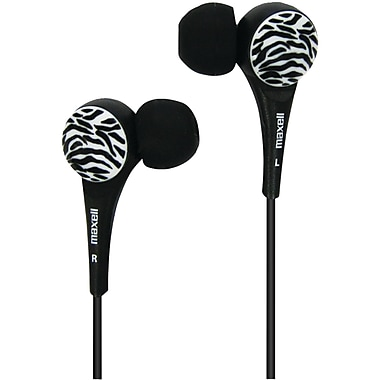 Maxell® Wild Things Zebra Earbuds, Black