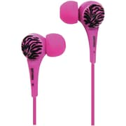 Maxell® Wild Things Zebra Earbuds, Pink