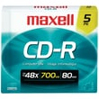 Maxell MXLCDR805 700 MB CD-R Jewel Case, 5/Pack
