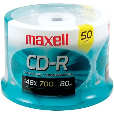Maxell® 80MIN 700MB CD-Rs, Spindle, 50/Pack