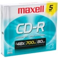 Maxell® 80MIN 700MB CD-Rs, Slim Jewel Cases, 5/Pack