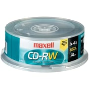 Maxell® 700MB CD-RW, Spindle, 25/Pack