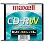 Maxell® 700MB CD-RW, Slim Jewel, Each