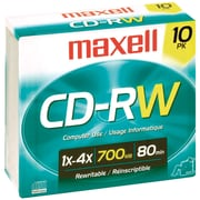 Maxell® 700MB CD-RW, Slim Jewel, 10/Pack