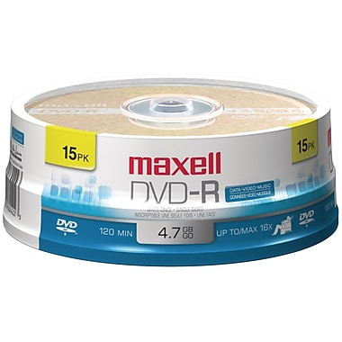 Maxell® 638006 4.7GB 16X Write-once DVD-R, 15-ct Spindle