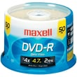 Maxell® 635053/638011 4.7GB 16X Write-once DVD-R, 50 Pack Spindle