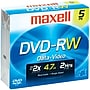 Maxell® 4.7GB DVD-RWs, Jewel Cases, 5/Pack
