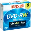 Maxell MXLDVDRW5JC 4.7 GB DVD-RW Jewel Case, 5/Pack
