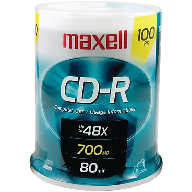 Maxell® 80MIN 700MB CD-Rs, Spindle, 100/Pack