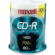 Maxell MXLCDR80100S 700 MB CD-R Spindle, 100/Pack