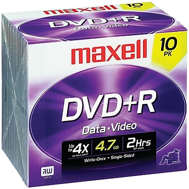 Maxell® 4.7GB 16X DVD+R, Jewel Case, 10/Pack