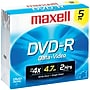 Maxell® 635042/635030/638002 4.7GB 16 X DVD-RS, 5/Pack