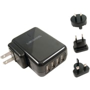 Lenmar® ACUSB4 AC To USB Wall Charger With 4 USB Ports And International Adapter Plugs, Black