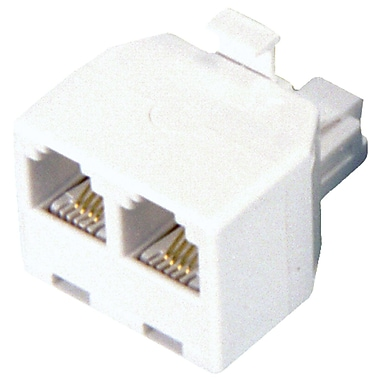 GE 4 Conductor Duplex Wall Jack Adapter, White