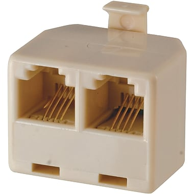 GE 4 Conductor Duplex Wall Jack Adapter, Almond