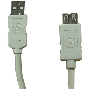 GE 6' A-male To A-female USB 2.0 Extension Cable, Black