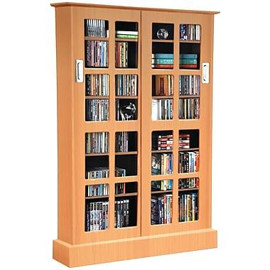 Atlantic® Windowpane Sliding Glass Door Multimedia Cabinet With 7 Shelves