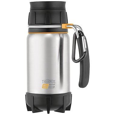 Thermos® 16 oz. Leak-proof Stainless Steel Travel Mug With Carabiner Carry Loop, Black/Silver