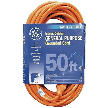 GE 50' 1-Outlet Indoor/Outdoor Extension Cord, Orange