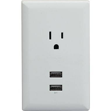 RCA WP2UWR USB Wall Plate Charger, White