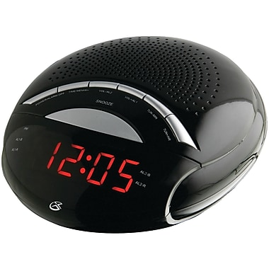 GPX® C222B Dual Alarm Digital AM/FM Clock Radio With 0.6in. Red LED Display