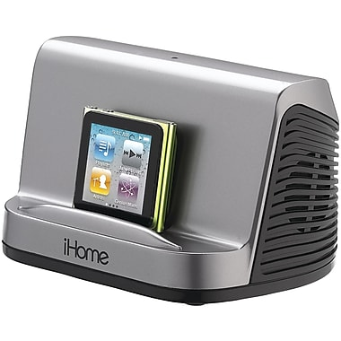 iHome® iHM16 Portable Stereo Speaker System For iPad, iPhone, iPod, MP3 Player, Gunmetal