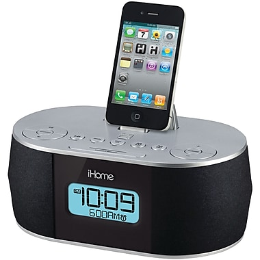 iHome® ID38SV Clock Radio with Dual Alarm and Stereo System for iPad/iPod/iPhone