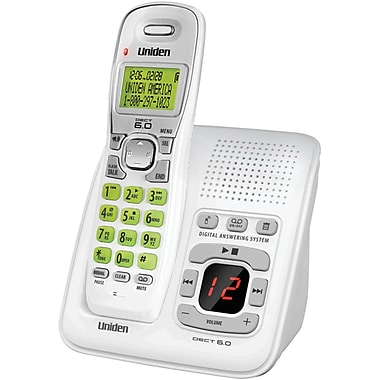 Uniden® D1483 White Cordless Phone With Answering System and Caller ID, 70 Name/Number