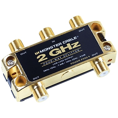 Monster® TGHZ MKII 4 Way 2 GHz Low-Loss RF Splitter Adapter For TV and Satellite MKII